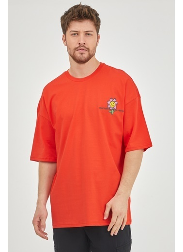 XHAN Kırmızı Önür & Arkası Baskılı Oversize T-Shirt  Kırmızı
